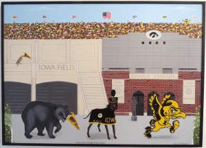History of the Iowa Mascots Canvas Giclee Black Metal Nielsen Frame