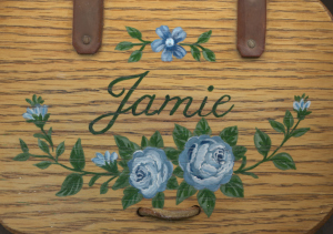 roses painted calligraphy on wood aunan