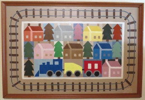 train quilt painting